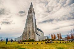 冰岛Hallgrimskirkja大教堂在雷克雅未克 图库摄影