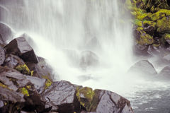 冰岛n p skaftafell svartifoss瀑布 图库摄影