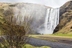 冰岛skogafoss skogar南部的瀑布 图库摄影