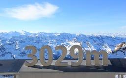 冰川–在3,029米的自由。Kitzsteinhorn山。 库存图片