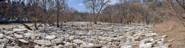 冰川五个盘区全景在第一条测流堰Humber河上的2015年 免版税库存照片