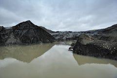 冰川冰岛solheimajokull 免版税库存图片