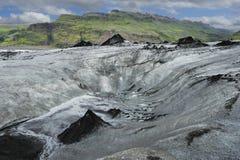 冰川冰岛solheimajokull 免版税图库摄影