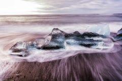 冰川冰Jokulsarlon盐水湖冰岛 免版税库存照片