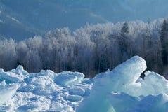 冰川和太阳在冬天 库存照片