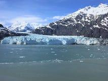 冰川和雪加盖了山,约翰霍普金斯入口,冰河海湾,阿拉斯加 免版税图库摄影