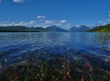 冰川国家公园,湖麦克唐纳登上大炮 免版税库存照片