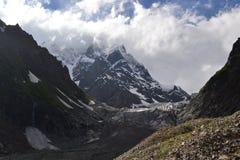 冰川在乔治亚,高加索山脉 免版税库存图片