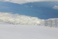 冰川在乞力马扎罗山,坦桑尼亚顶部 库存照片