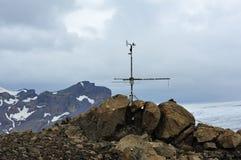 冰川在岗位附近的冰岛meteo 免版税库存图片