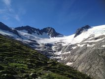 冰川在Floitental Zillertal结束时 库存图片