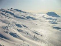 冰川在Wrangell -圣伊莱亚斯国家公园,阿拉斯加,看见从空气 免版税图库摄影