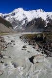 冰川山纵向流 库存图片