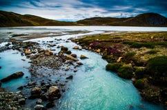 冰川流出湖,格陵兰 免版税库存照片