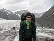 冰川登山家 免版税图库摄影
