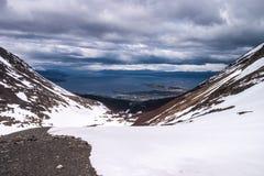 从冰川全景的Ushuaia视图 免版税库存图片
