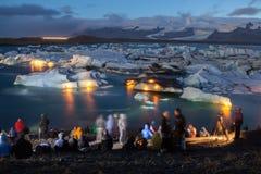 冰川盐水湖冰岛 免版税库存照片
