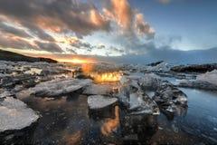 冰川盐水湖, Jokulsarlon,冰岛 图库摄影