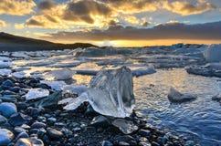 冰川盐水湖, Jokulsarlon,冰岛 免版税图库摄影