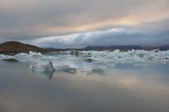 冰川风景在冰岛 免版税库存照片