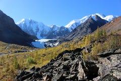 冰川Maasai和积雪覆盖的峰顶 免版税库存图片
