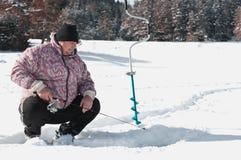 冰捕鱼我 库存照片