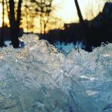 冰日出冬天 免版税库存照片