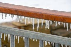 冰柱交响乐在波摩莱,保加利亚 库存照片