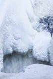冰柱和雪近的流动的水 免版税库存图片