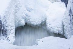 冰柱和雪近的流动的水 库存图片