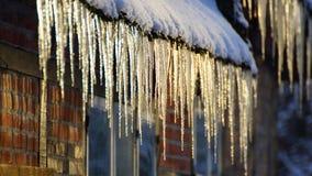 冰柱和雪 免版税库存图片