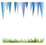 冰柱和绿草在春天例证 免版税库存图片