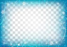 冰框架在透明背景的 中心颜色包括对比冷静边缘框架冰低模式雪纹理冬天 向量例证