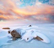 冰横向石头冬天 图库摄影