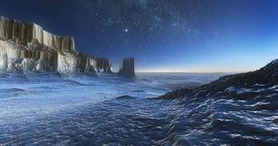 冰沙漠在晚上 向量例证