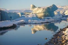 冰河湖冰川盐水湖在冰岛冬天 库存图片