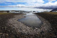 冰河jokulsarlon盐水湖 免版税库存图片