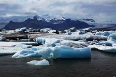 冰河jokulsarlon盐水湖 免版税库存照片