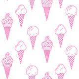 冰淇凌传染媒介无缝的样式 夏天汇集 免版税库存照片