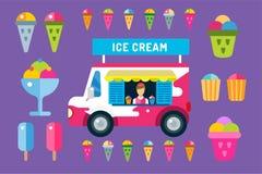 冰淇凌传染媒介被设置的卡车搬运车和象 免版税图库摄影