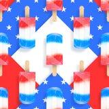 冰淇凌冰棍儿美国旗子上色无缝的样式 建筑在向量之下的例证股票 库存照片