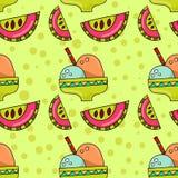冰淇凌和西瓜的无缝的样式 库存图片