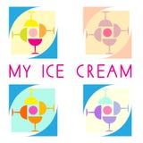 冰淇凌咖啡馆商标 免版税库存照片