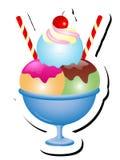 冰淇凌圣代冰淇淋传染媒介例证 图库摄影