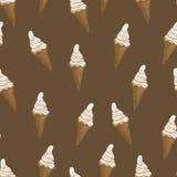 冰淇凌奶蛋烘饼锥体无缝的样式 风格化传染媒介例证 免版税库存照片