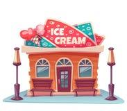 冰淇凌店大厦的传染媒介例证 库存照片