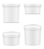 冰淇凌或点心传染媒介illustra的白色塑胶容器 库存图片