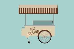 冰淇凌推车的平的概念性例证 库存图片