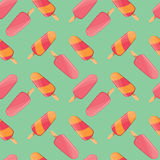冰淇凌无缝的样式,五颜六色的夏天背景,可口甜点对待 库存例证