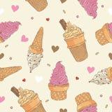 冰淇凌无缝的模式 库存图片